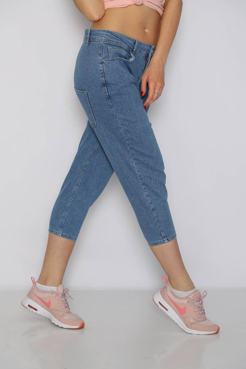 Mom Style Push Up Jean Mavi